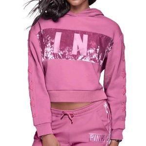 PINK VS Velvet Lace Up Crop Hoodie